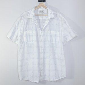 Lucky Brand White Faint Plaid Button Down Shirt